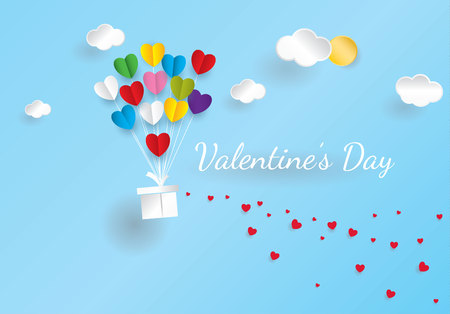 Valentine' s day typography with heart shaped hot air balloon flying in sky and small hearts on background.