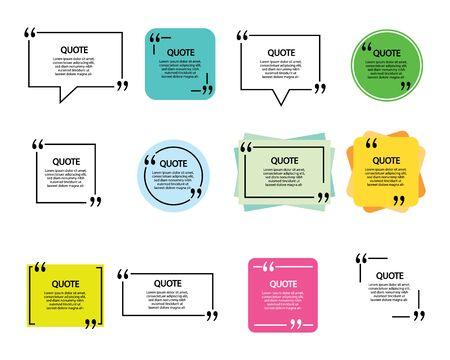 Blank template quote text info design boxes quotation bubble blog quotes symbols. Stock Illustratie