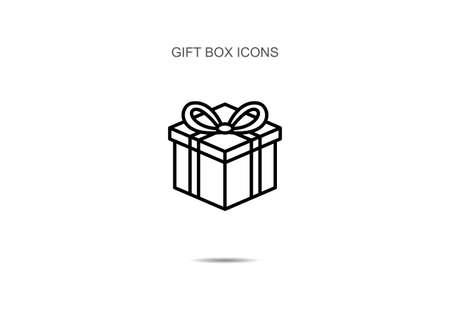 Gift box line icon vector illustration on background Illusztráció
