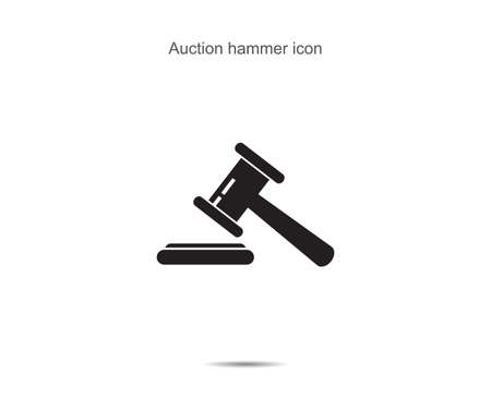 Auction hammer icon vector illustration on background