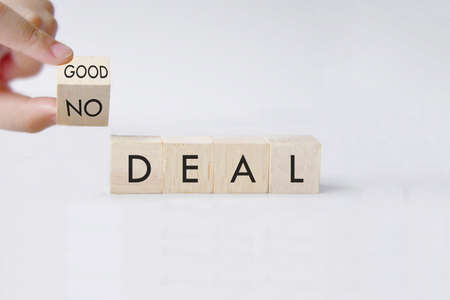 No deal or a good deal? Hand turns a dice and changes the expression