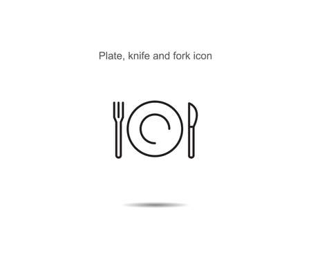 Plate, knife and fork  icon vector illustration on background