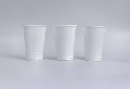 Plastic cups on a white background.Plastic cups on a white background