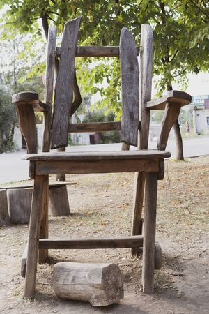 A huge chair for a giant from fairy tales.A huge chair for a giant from fairy tales