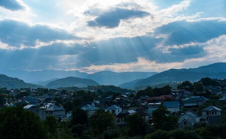 Landscape at sunset sunlight through the clouds.Landscape at sunset sunlight through the clouds