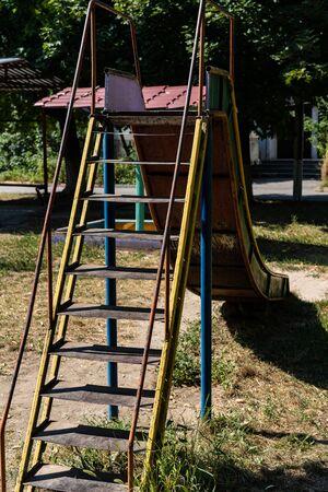 Childrens slide in the playground.Childrens slide in the playground Zdjęcie Seryjne