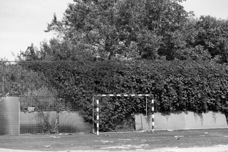 Old football field in the open air.Old football field in the open air Archivio Fotografico - 134725496