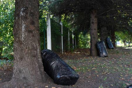 Black large bags with garbage.Black large bags with garbage