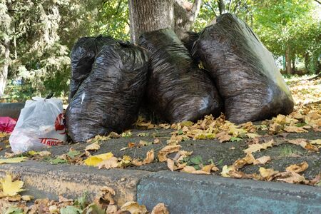 Black large bags with garbage.Black large bags with garbage Stock Photo - 134726781