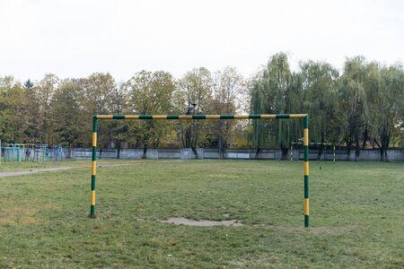 Soccer field in the scool yard.Soccer field in the scool yard Archivio Fotografico - 134743192
