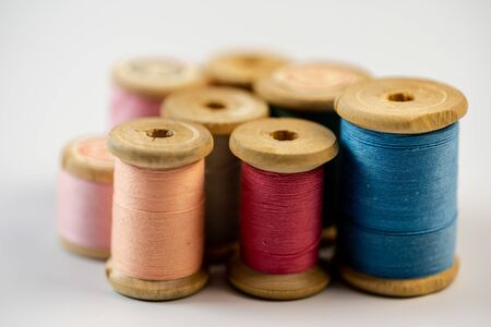 Coils with threads of different colors.Coils with threads of different colors