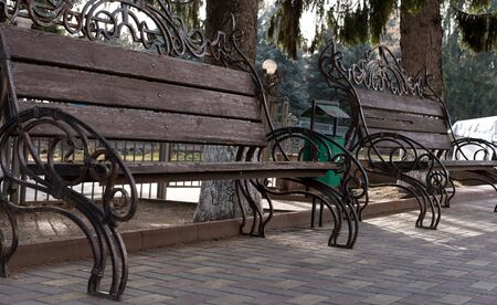 Park benches installed in the park