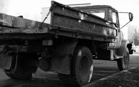 USSR truck stands at the side of the road