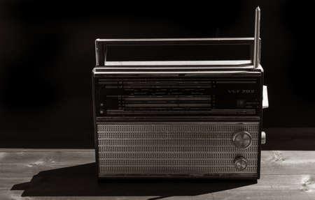 Old radio on a black background Zdjęcie Seryjne