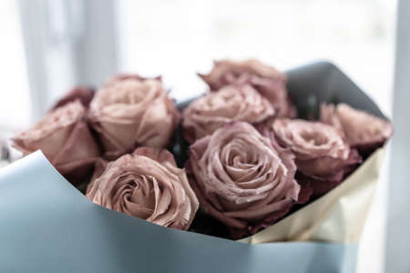 A bouquet of drying roses
