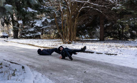 Man slipped on ice in winter