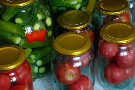 Cooking pickled tomatoes and cucumbers