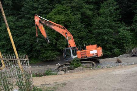 Broken heavy equipment. Excavator without bucket Stock fotó