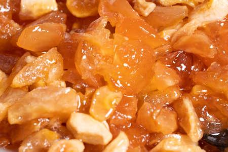 Making apple jam. Apples water and sugar