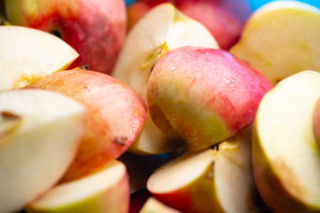 Sliced apples as background or texture