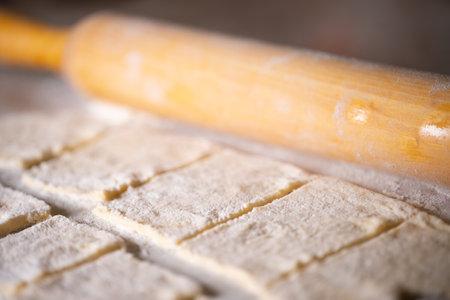 Dough blanks for making dumplings Imagens
