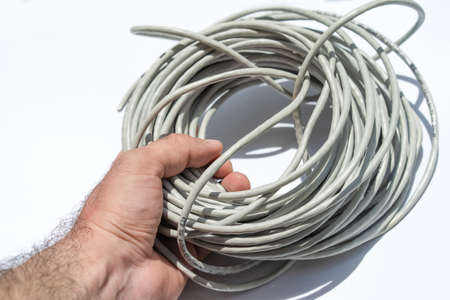 RJ45 cable on white background