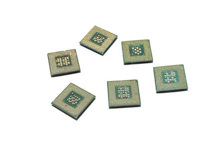 Computer processors on a white background