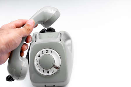 Rotary dial handset for answer
