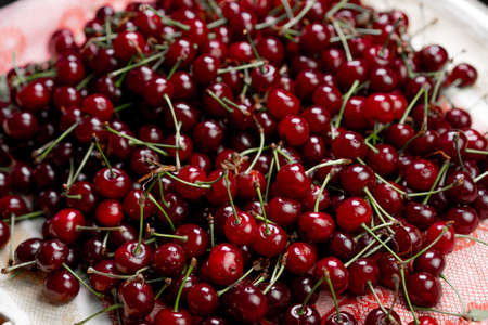 Ripe cherry as background and texture