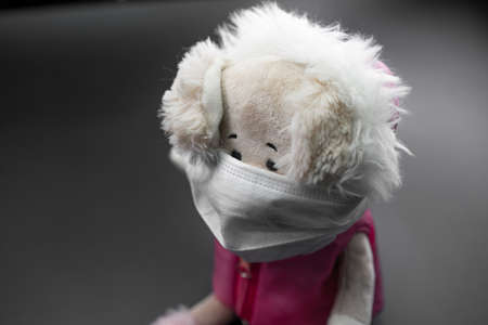 The stuffed toy is in the mask from the coronavirus Imagens