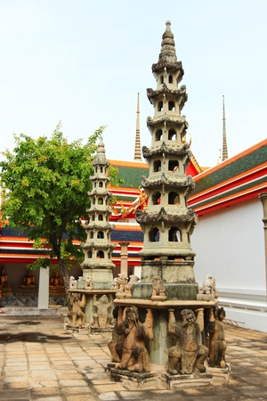multi storey: The multi storey Chinese Pagoda at Wat Pho in Thailand