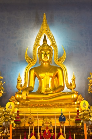 subduing: buddha image in the gesture of subduing Mara, and the replica of Phra Buddhachinaraj