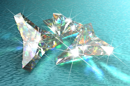 Shimmering diamond with blue water background photo
