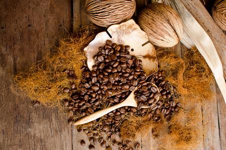 Coffee seed on vintage background