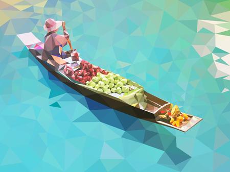 Mercado flotante en Tailandia Ilustración de vector
