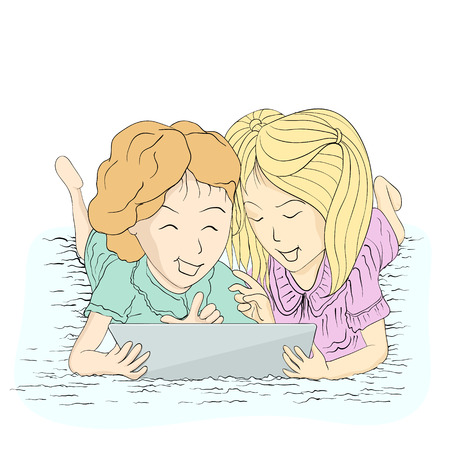 Two ladies happy with tablet