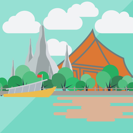 Temple of dawn, thailand with flat design Illustration