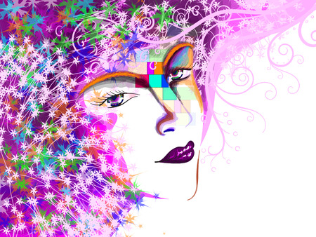 Woman face, With hand drawing fashion illustration.
