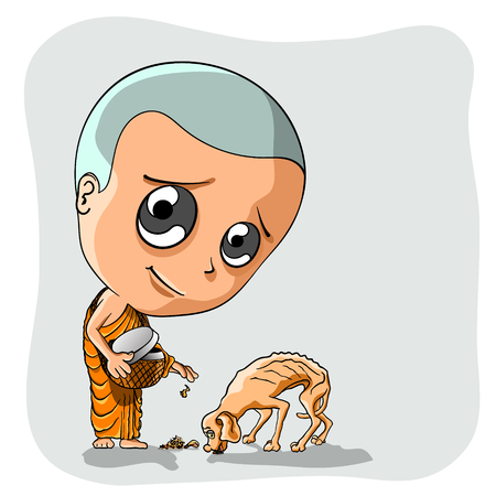 Novice giving food dog very hungry and emaciated. Vector Illustration