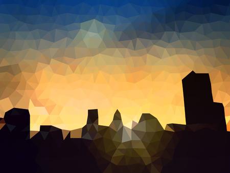 Polygon Vector city silhouette at twilight Illustration
