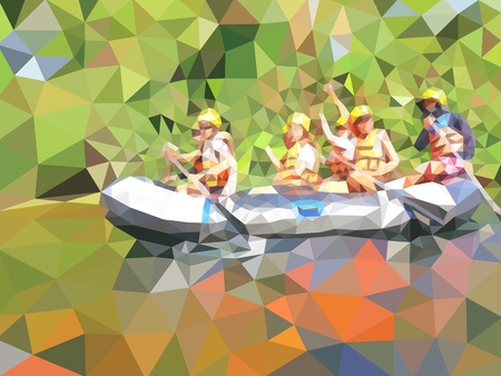 vector illustration of the adventure rafting in a river Vettoriali