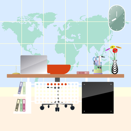 Illustration of flat modern workplace in room. Creative office workspace with map background. Illustration