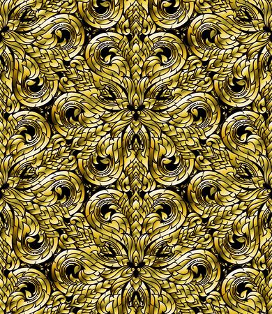 Line Thai seamless pattern, Thai traditional art was modified to be gold tone. Ilustração Vetorial