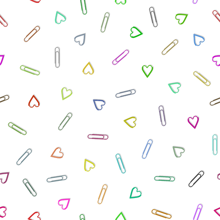 Multi-colored paper clips seamless pattern and abstract background for decorative. Vector illustration EPS 10.
