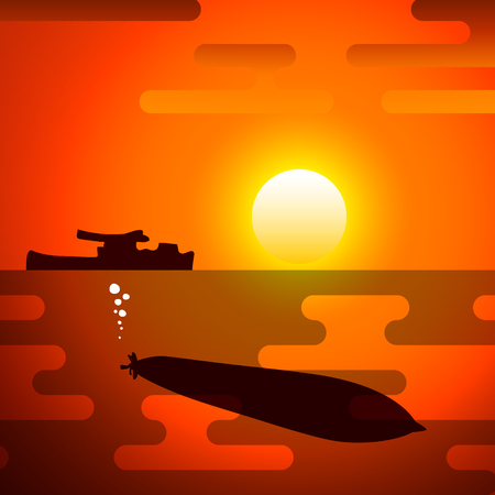 Silhouette of torpedo, the symbolize of the war.
