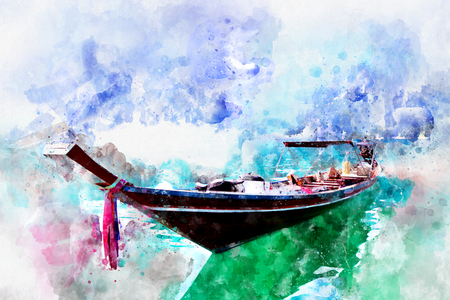 Boat at Khao Sok national park, Surat Thani province, with watercolor art. Stock Vector - 112248801