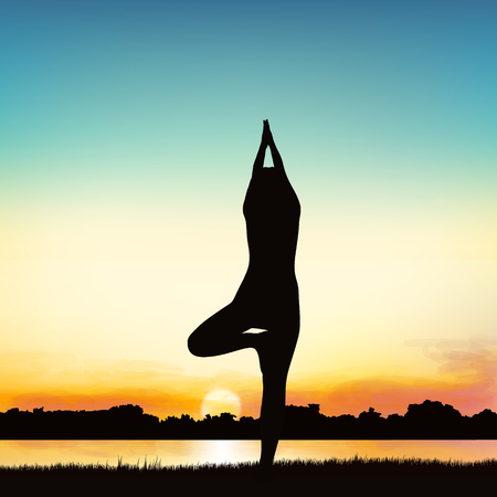 Lady silhouette image in the posture of Yoga. Illustration