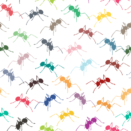 Colorful ants on white seamless background.