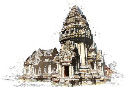 Khmer stone sanctuary in watercolor art of vector. Illustration