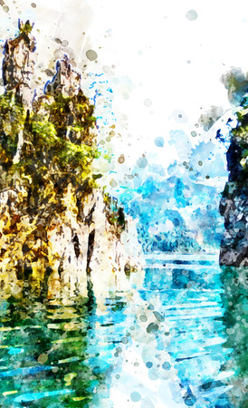 Khao Sok national park, Surat Thani province, Thailand with watercolor art.